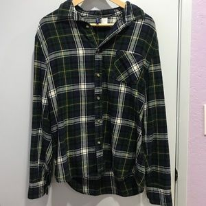 Blue and green plaid flannel